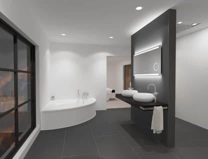 TALOS SUN LED Badspiegel im weißen Badezimmer