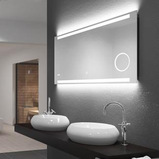 LED Badspiegel 120cm Breite beleuchtet oben & unten