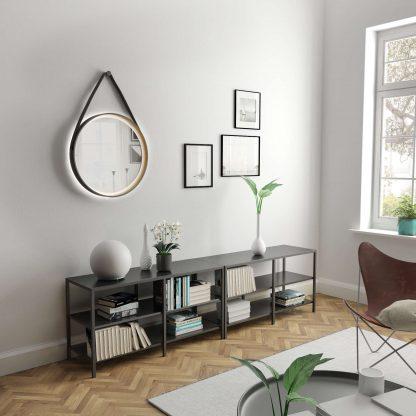 LED Wandspiegel rund TALOS Golden Summer Wohnzimmerambiente