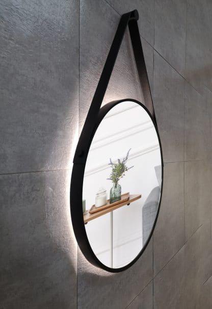 runder LED Wandspiegel in schwarz Talos Black Light Zoom links