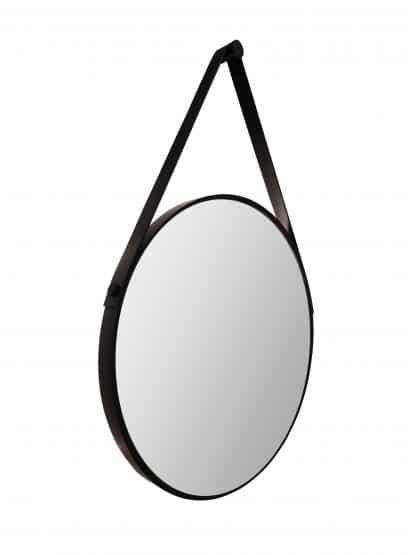runder LED Wandspiegel in schwarz Talos Black Light Freisteller