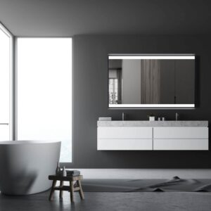 TALOS BLACK SHINE beleuchteter Badspiegel 120x70cm mit schwarzem Alurahmen