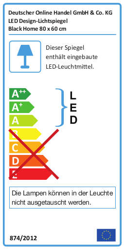 Energielabel für LED Badspiegel mit Ablage TALOS BLACK HOME