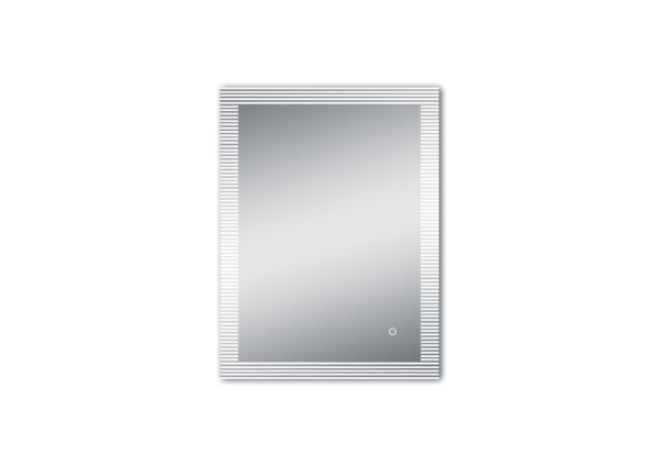 LED Spiegel Bad TALOS TRACE mit unterbrochener Lichtumrandung als Freisteller vertikal