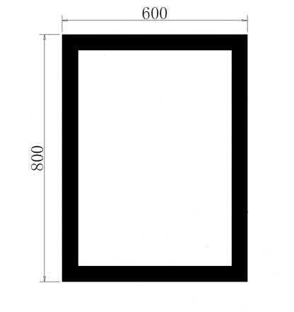 LED Spiegel Bad TALOS TRACE Zeichnung mit Maßangaben