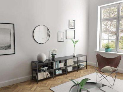 Runder Wandspiegel im Wohnzimmer TALOS BLACK CIRCLE