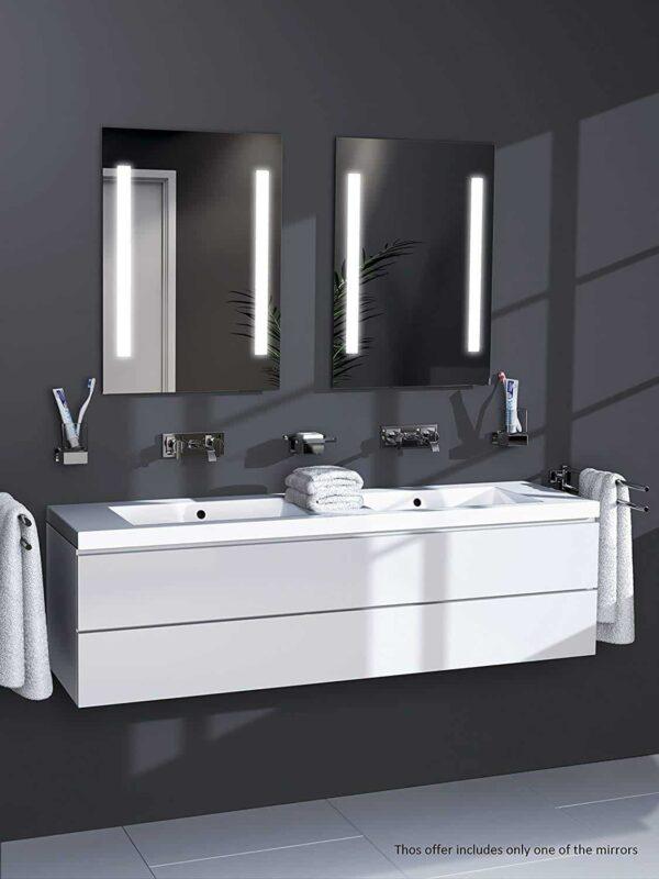 LED Badspiegel über zwei Waschbecken TALOS PRIME