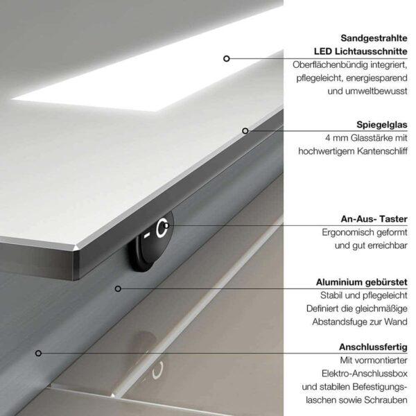 LED Badspiegel TALOS PRIME Schalteransicht